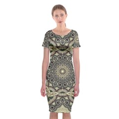 Surreal Design Graphic Pattern Classic Short Sleeve Midi Dress