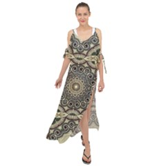 Surreal Design Graphic Pattern Maxi Chiffon Cover Up Dress