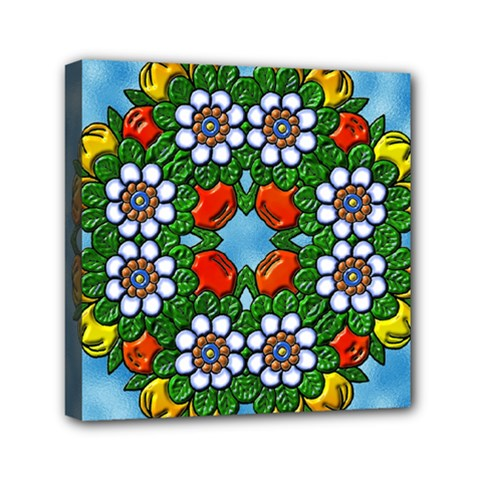 Mandala Background Colorful Pattern Mini Canvas 6  X 6  (stretched) by Pakrebo