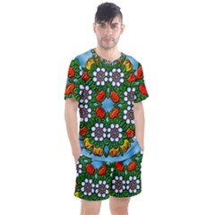 Mandala Background Colorful Pattern Men s Mesh Tee And Shorts Set