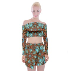 Fractal Background Colorful Graphic Off Shoulder Top With Mini Skirt Set