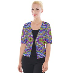 Farbenpracht Kaleidoscope Cropped Button Cardigan by Pakrebo