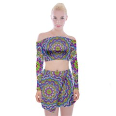 Farbenpracht Kaleidoscope Off Shoulder Top With Mini Skirt Set