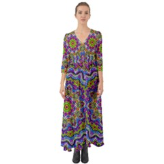 Farbenpracht Kaleidoscope Button Up Boho Maxi Dress