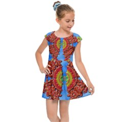 Pictures Digital Art Abstract Kids  Cap Sleeve Dress by Pakrebo