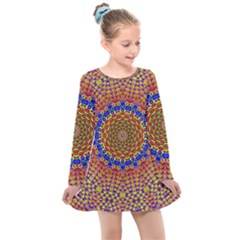 Tile Background Image Ornament Kids  Long Sleeve Dress by Pakrebo