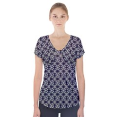 Ornaments  Kaleidoscope Pattern Short Sleeve Front Detail Top