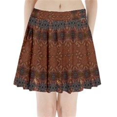 Background Image Structure Brown Black Pleated Mini Skirt