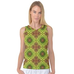 Tile Background Image Pattern Green Women s Basketball Tank Top