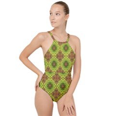 Tile Background Image Pattern Green High Neck One Piece Swimsuit