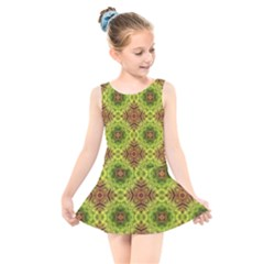 Tile Background Image Pattern Green Kids  Skater Dress Swimsuit by Pakrebo