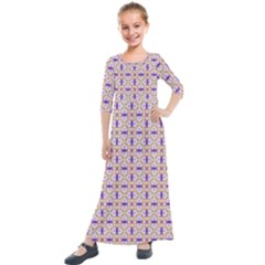 Background Image Tile Geometric Kids  Quarter Sleeve Maxi Dress