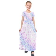 Digital Art Artwork Abstract Pink Purple Kids  Short Sleeve Maxi Dress by Jojostore