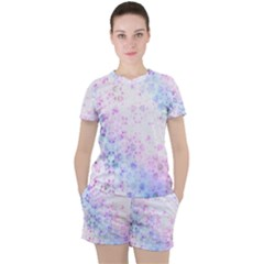 Digital Art Artwork Abstract Pink Purple Women s Tee And Shorts Set by Jojostore