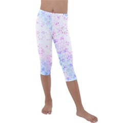 Digital Art Artwork Abstract Pink Purple Kids  Lightweight Velour Capri Leggings  by Jojostore