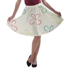 Flower Background Nature Floral A-line Skater Skirt