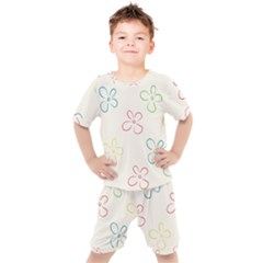 Flower Background Nature Floral Kids  Tee And Shorts Set
