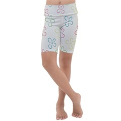 Flower Background Nature Floral Kids  Lightweight Velour Cropped Yoga Leggings by Mariart