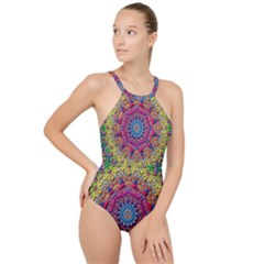 Background Fractals Surreal Design 3d High Neck One Piece Swimsuit