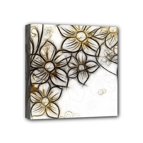 Curlicue Kringel Flowers Background Mini Canvas 4  X 4  (stretched) by AnjaniArt
