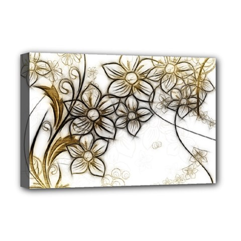 Curlicue Kringel Flowers Background Deluxe Canvas 18  X 12  (stretched)