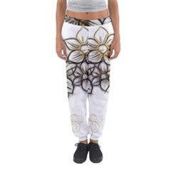 Curlicue Kringel Flowers Background Women s Jogger Sweatpants by AnjaniArt