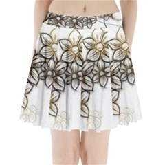 Curlicue Kringel Flowers Background Pleated Mini Skirt by AnjaniArt