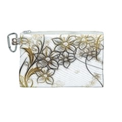 Curlicue Kringel Flowers Background Canvas Cosmetic Bag (medium)