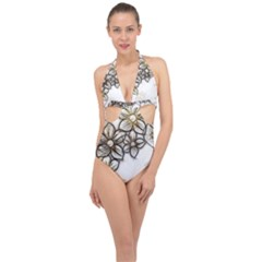 Curlicue Kringel Flowers Background Halter Front Plunge Swimsuit by AnjaniArt