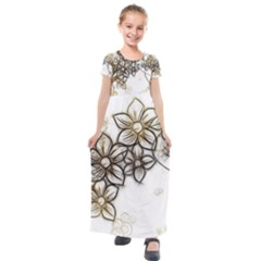 Curlicue Kringel Flowers Background Kids  Short Sleeve Maxi Dress by AnjaniArt