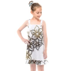 Curlicue Kringel Flowers Background Kids  Overall Dress by AnjaniArt