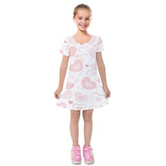 Pastel Pink Hearts Kids  Short Sleeve Velvet Dress by retrotoomoderndesigns