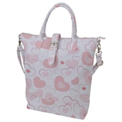 Pastel Pink Hearts Buckle Top Tote Bag
