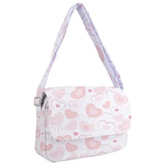 Pastel Pink Hearts Courier Bag by retrotoomoderndesigns