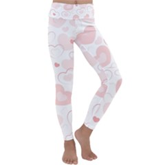 Pastel Pink Hearts Kids  Lightweight Velour Classic Yoga Leggings