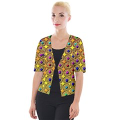 Background  Kaleidoscope Cropped Button Cardigan