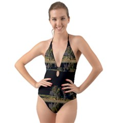 Soi Ball Symmetry Scenery Reflect Halter Cut Out One Piece Swimsuit