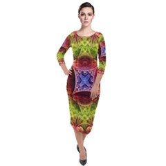 Tile Background Image Pattern Quarter Sleeve Midi Velour Bodycon Dress