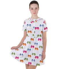 Tweet Hearts Pattern Short Sleeve Shoulder Cut Out Dress