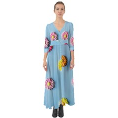 Daisy Button Up Boho Maxi Dress