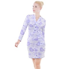 Pastel Purple Hearts Button Long Sleeve Dress by retrotoomoderndesigns