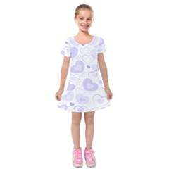 Pastel Purple Hearts Kids  Short Sleeve Velvet Dress by retrotoomoderndesigns