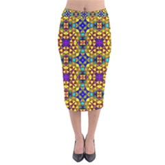 Tile Background Image Graphic Abstract Velvet Midi Pencil Skirt by Pakrebo