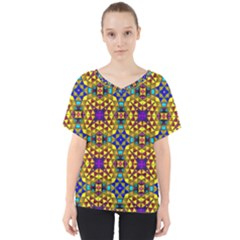 Tile Background Image Graphic Abstract V Neck Dolman Drape Top