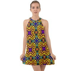 Tile Background Image Graphic Abstract Halter Tie Back Chiffon Dress by Pakrebo