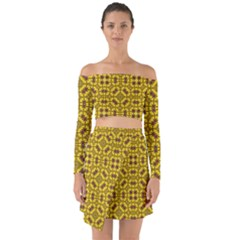 Tile Background Image Graphic Yellow Off Shoulder Top With Skirt Set