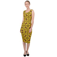 Tile Background Image Graphic Yellow Sleeveless Pencil Dress