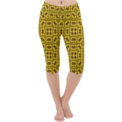 Tile Background Image Graphic Yellow Lightweight Velour Cropped Yoga Leggings