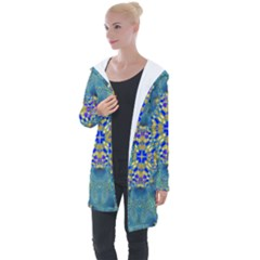 Tile Background Image Graphic Longline Hooded Cardigan