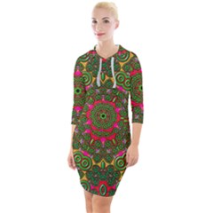Background Image Pattern Quarter Sleeve Hood Bodycon Dress by Pakrebo